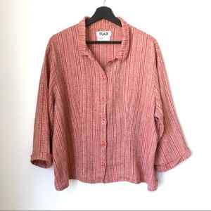 FLAX Red Multicolor Linen Boxy Button Down Shirt L